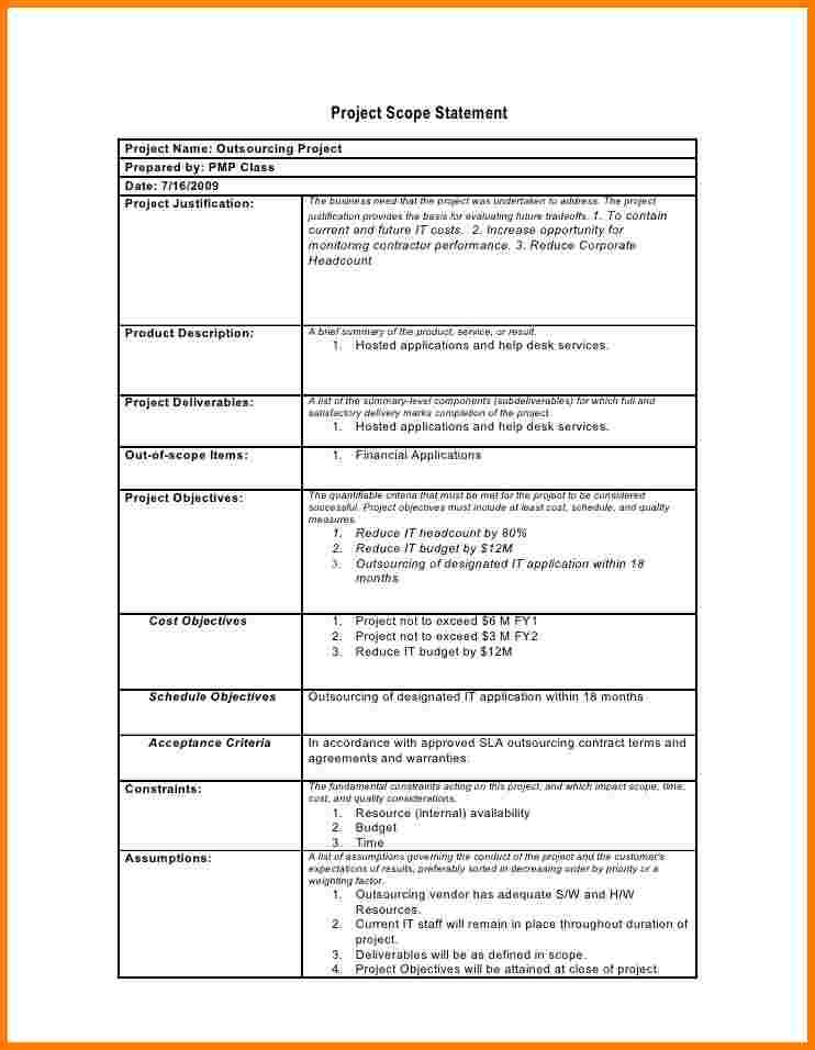 Project Scope Statement Template | project scope template