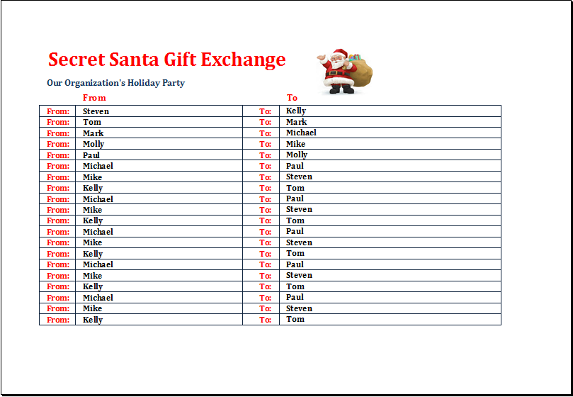 Secret Santa Gift Exchange List Template | Excel Templates