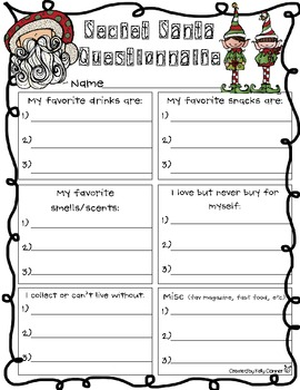 Secret Santa Questionnaire by Kelly Conner | Teachers Pay Teachers
