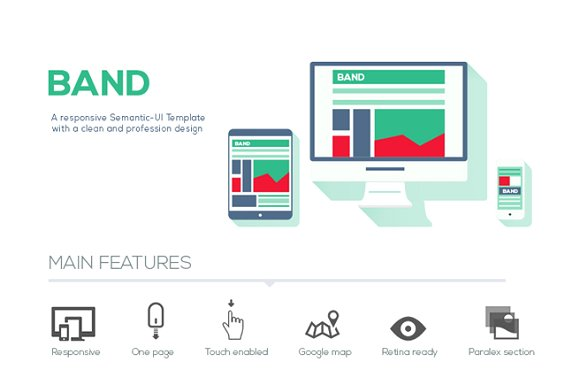 Band Semantic UI HTML Template ~ Website Templates ~ Creative Market