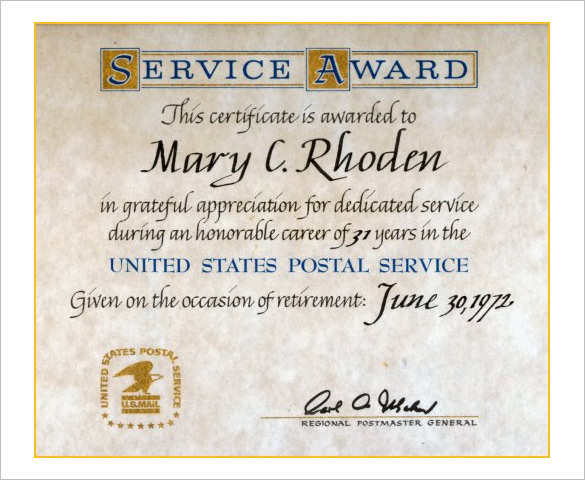 years of service award certificate templates service award