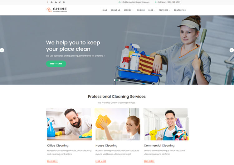 Shine Cleaning Service Website Template Ease Template