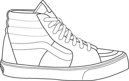 Shoe pattern. Use the printable outline for crafts, creating