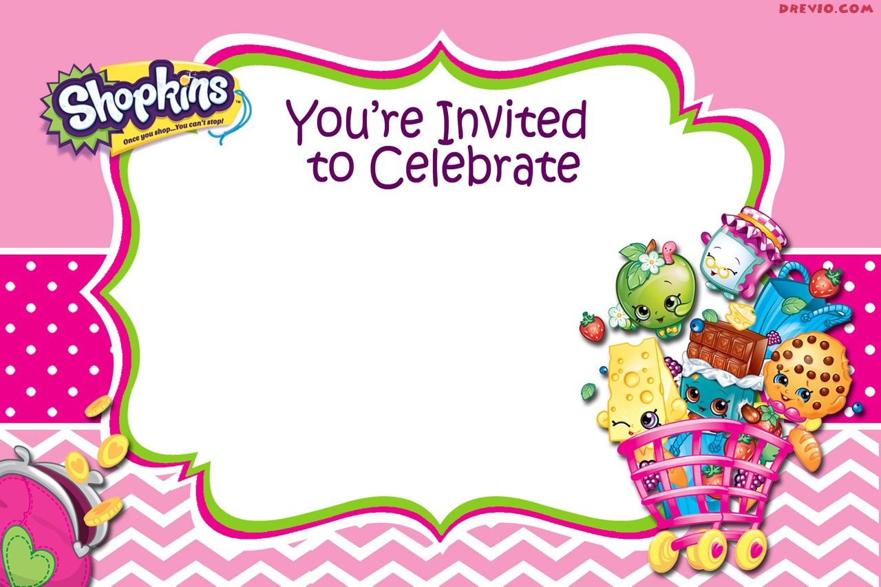 Updated – FREE Printable Shopkins Birthday Invitation Template