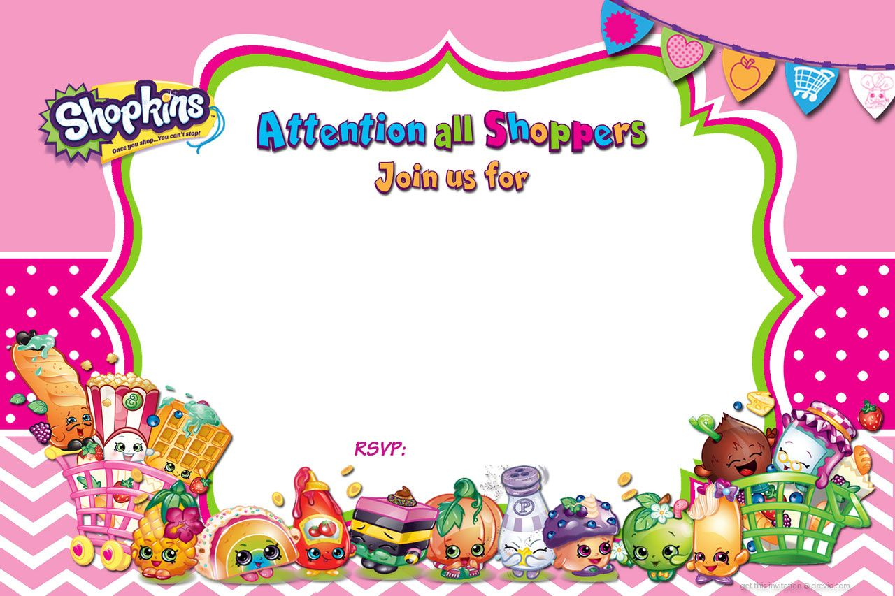 Updated FREE Printable Shopkins Birthday Invitation Template