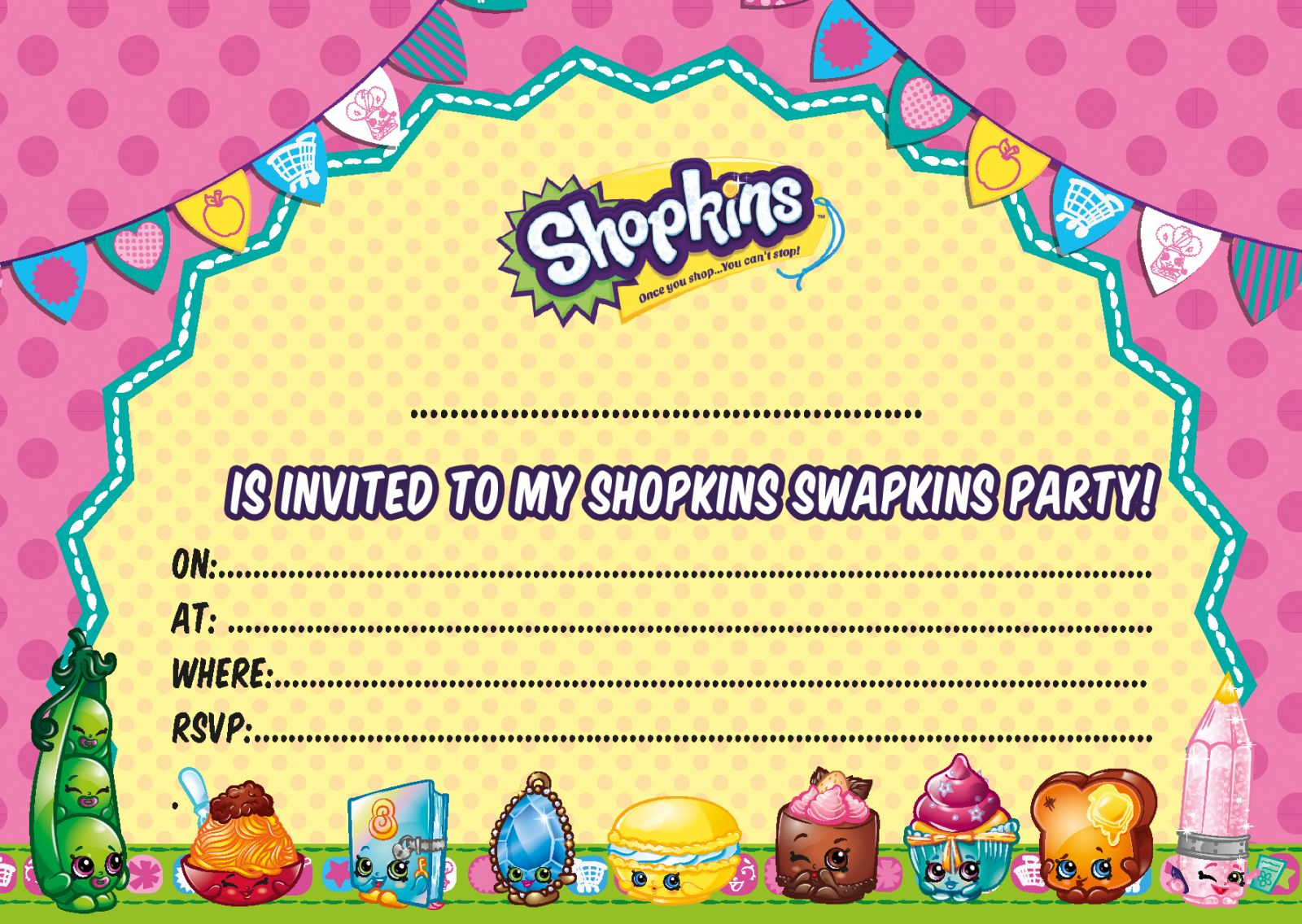 Free Printable Shopkins Spectacular Shopkins Party Invitations
