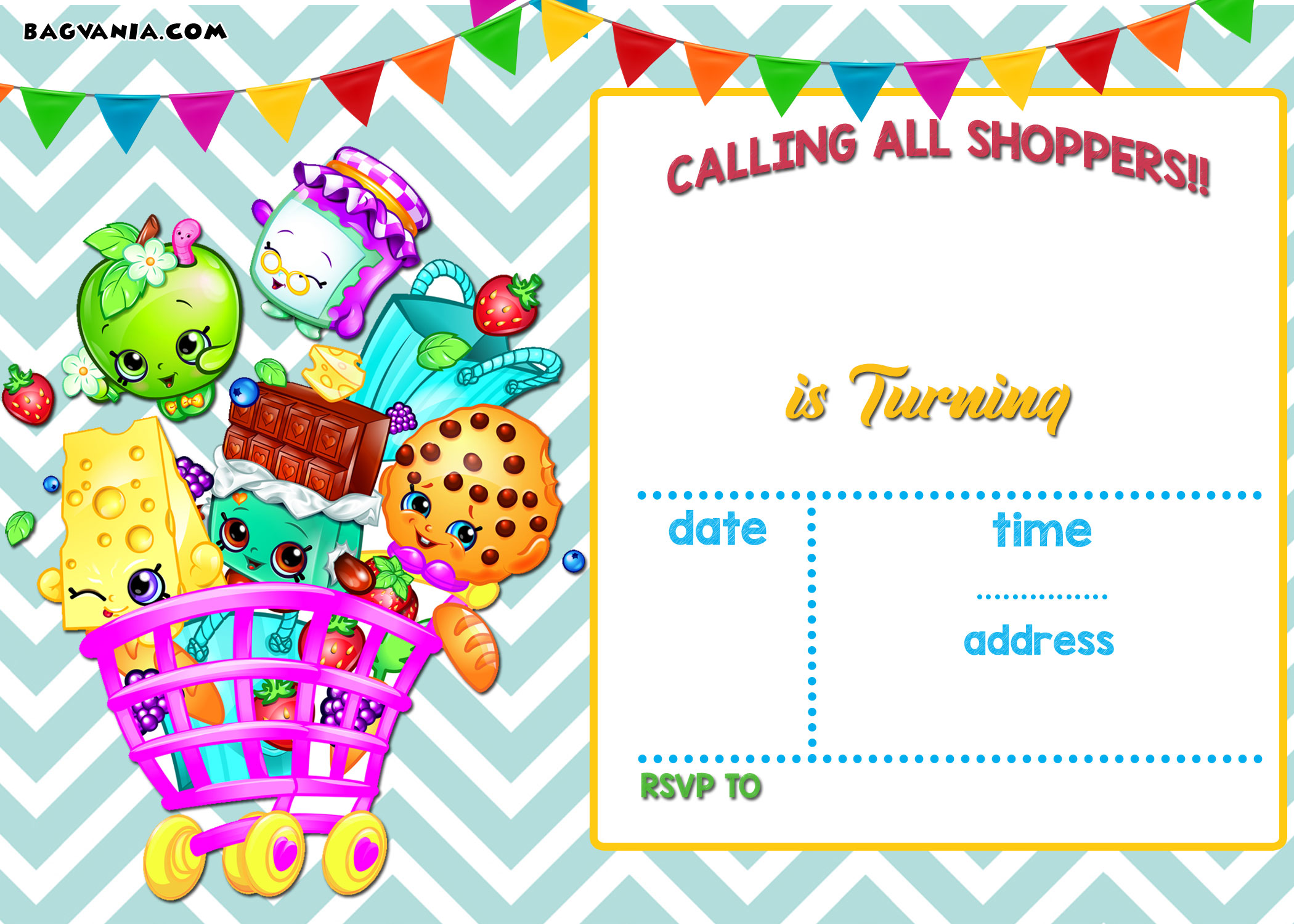 Calling All Shoppers! Here are Free Blank Shopkins Invitation