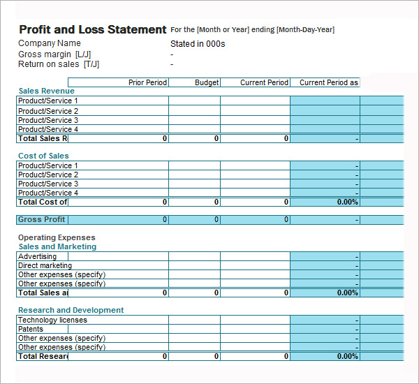 how to make a profit and loss statement in excel Akba.katadhin.co