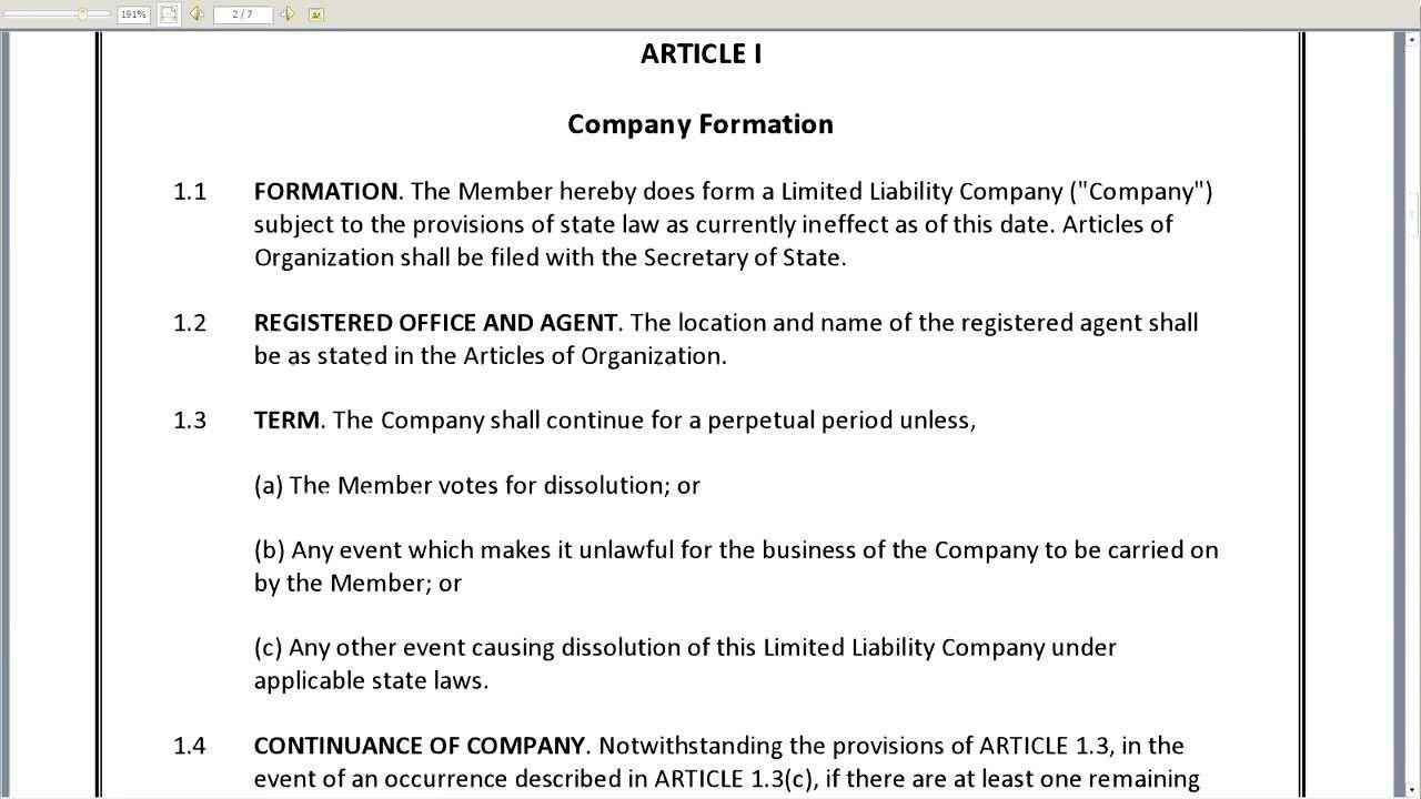Single Member LLC Operating Agreement YouTube
