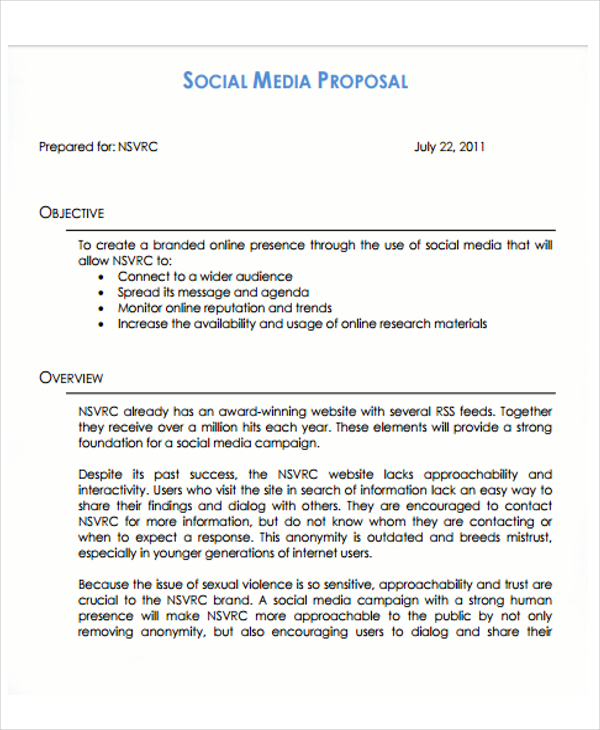 10 Social Media Proposal Templates Free Sample, Example Format