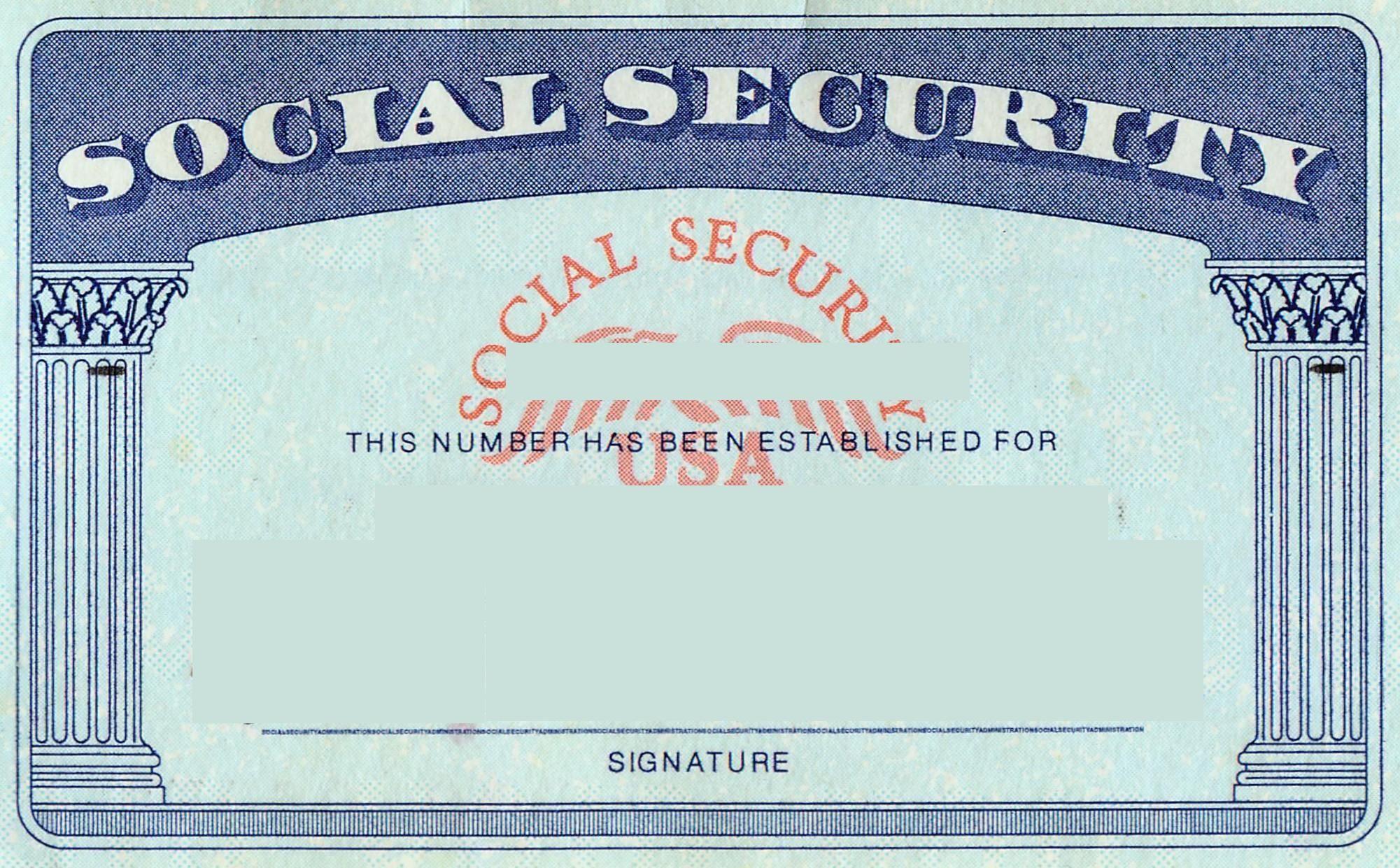 blank social security card template | Social Security card Print