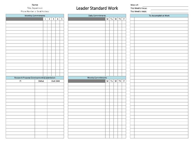 Leader Standard Work Template   Template Throughout Standard Work