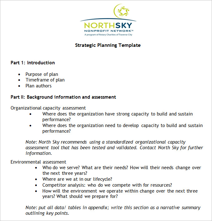 Non Profit Strategic Plan Template Free Word, PDF Documents