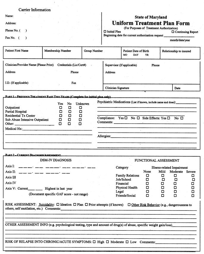 Appendix B: Maryland Uniform Treatment Plan Form   ASPE
