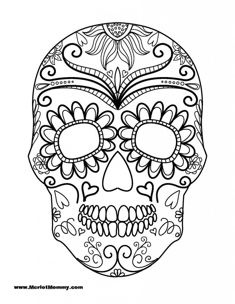 Day of the Dead Sugar Skull coloring page | Free Printable