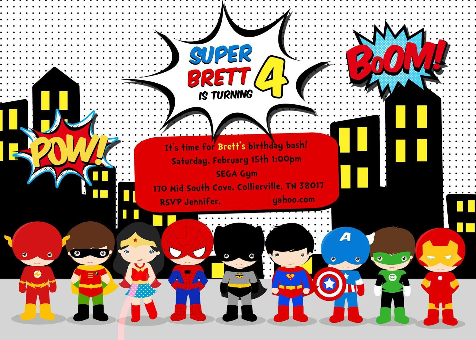 Free Superhero Birthday Party Invitation Templates | Birthday