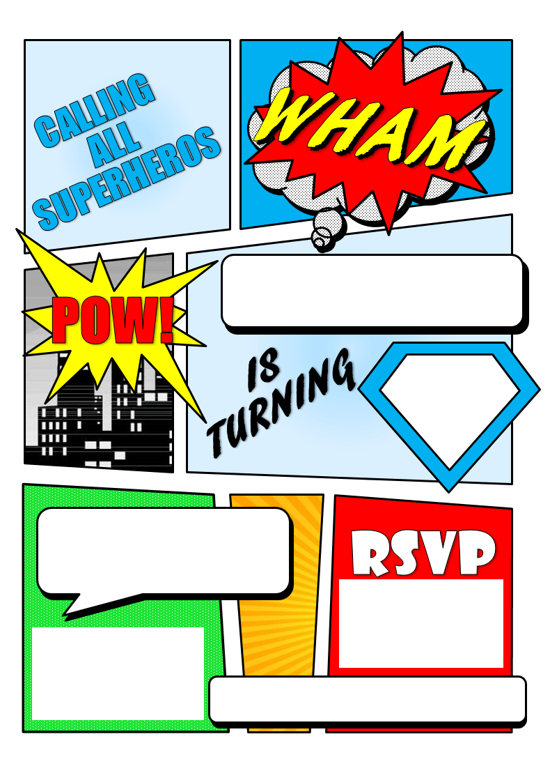 image regarding Free Printable Superhero Birthday Cards titled Superhero Invitation Template