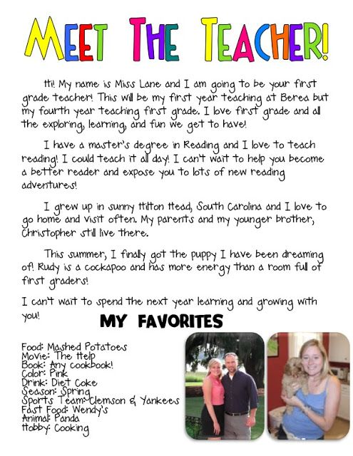 Meet the Teacher bio such a cute idea | Kindergarten | Pinterest
