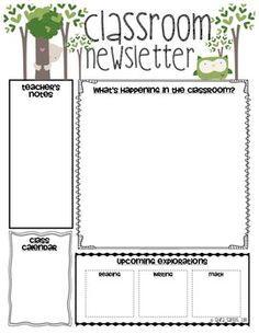 teacher newsletter templates kindergarten newsletter templates