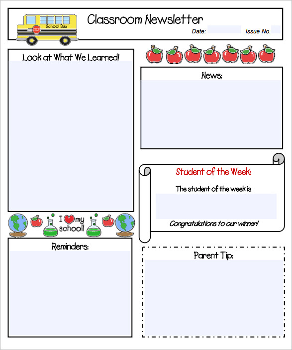 Classroom Newsletter Template | Free small, medium and large