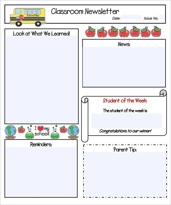 weekly classroom newsletter template Melo.in tandem.co