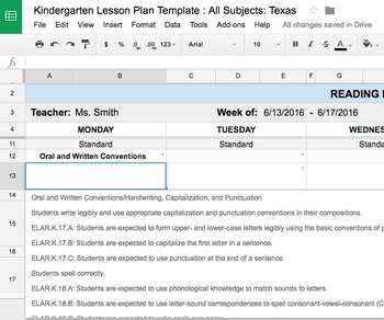Lesson Plan Template: Kindergarten: All Subjects w/ all Texas TEKS