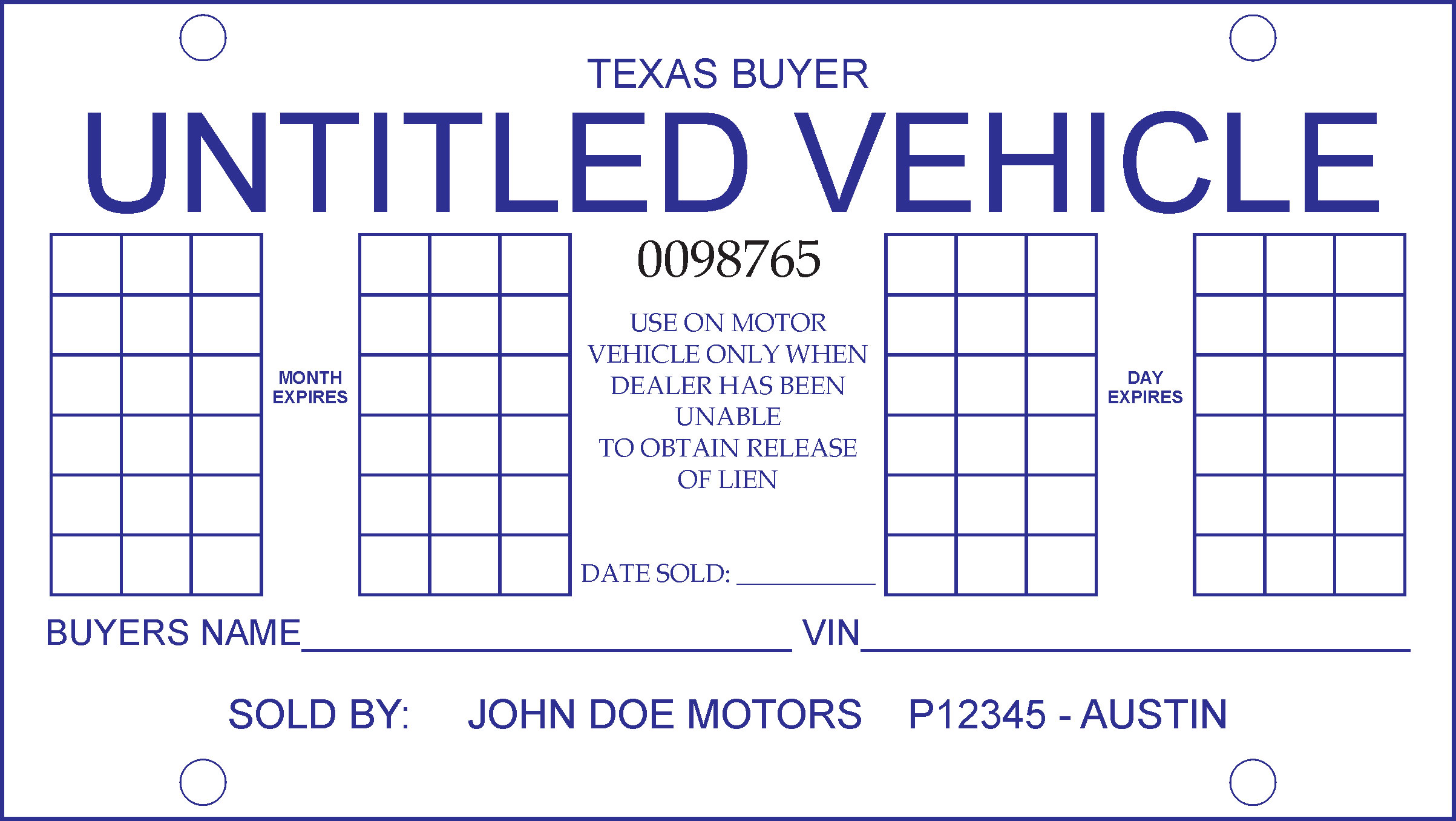 image regarding Printable Temporary License Plate identified as Non permanent License Plate Template