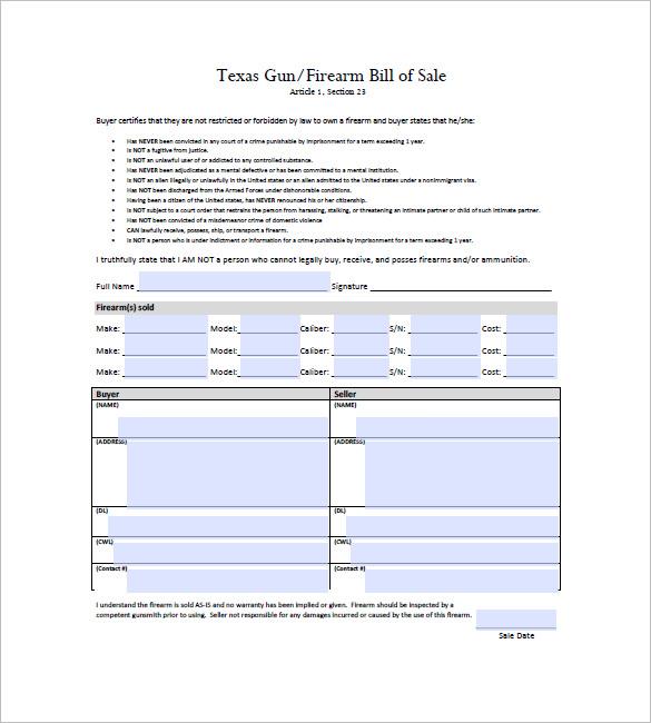 Bill Of Sale Form Texas Firearm Bill Of Sale Templates Fillable