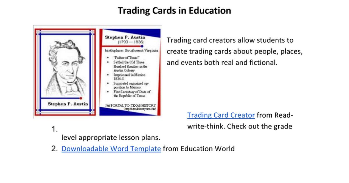 Trading Cards Google Docs