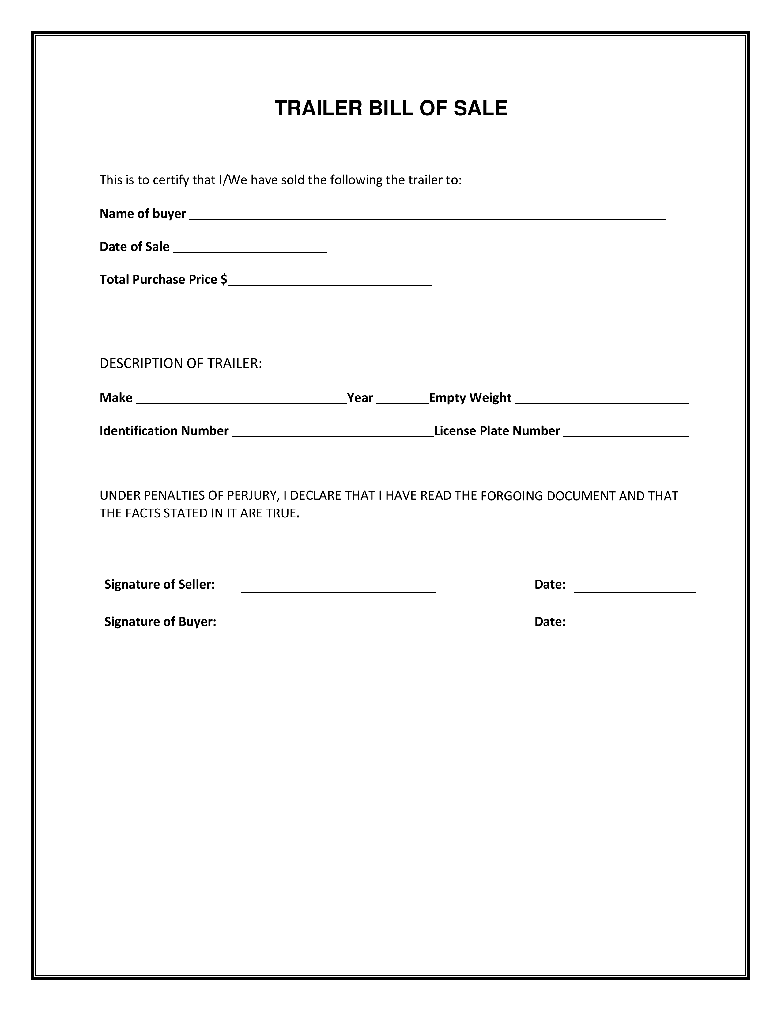 Trailer Only Bill Of Sale Forms and Templates Fillable