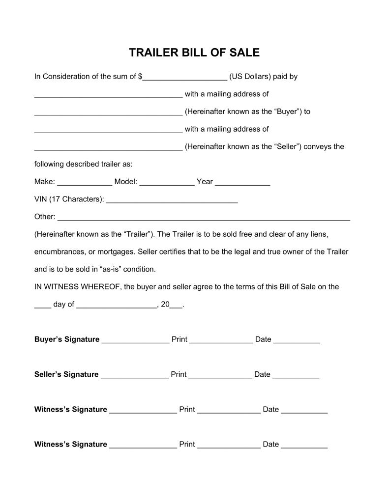 Free Trailer Bill of Sale Form PDF | Word | eForms – Free