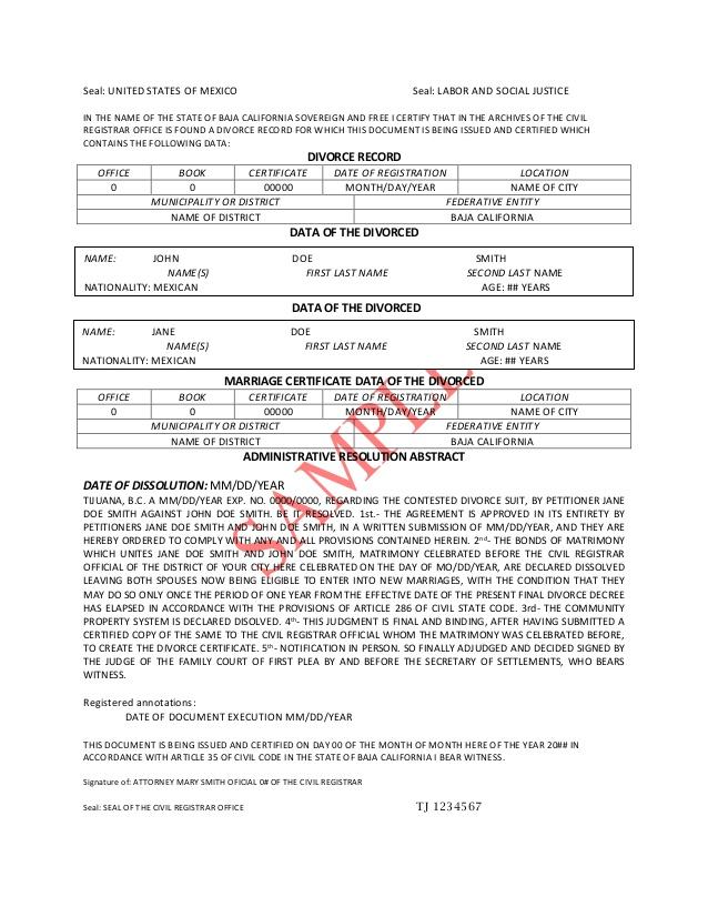 Divorce Certificate Template 9+ Free Word, PDF Document