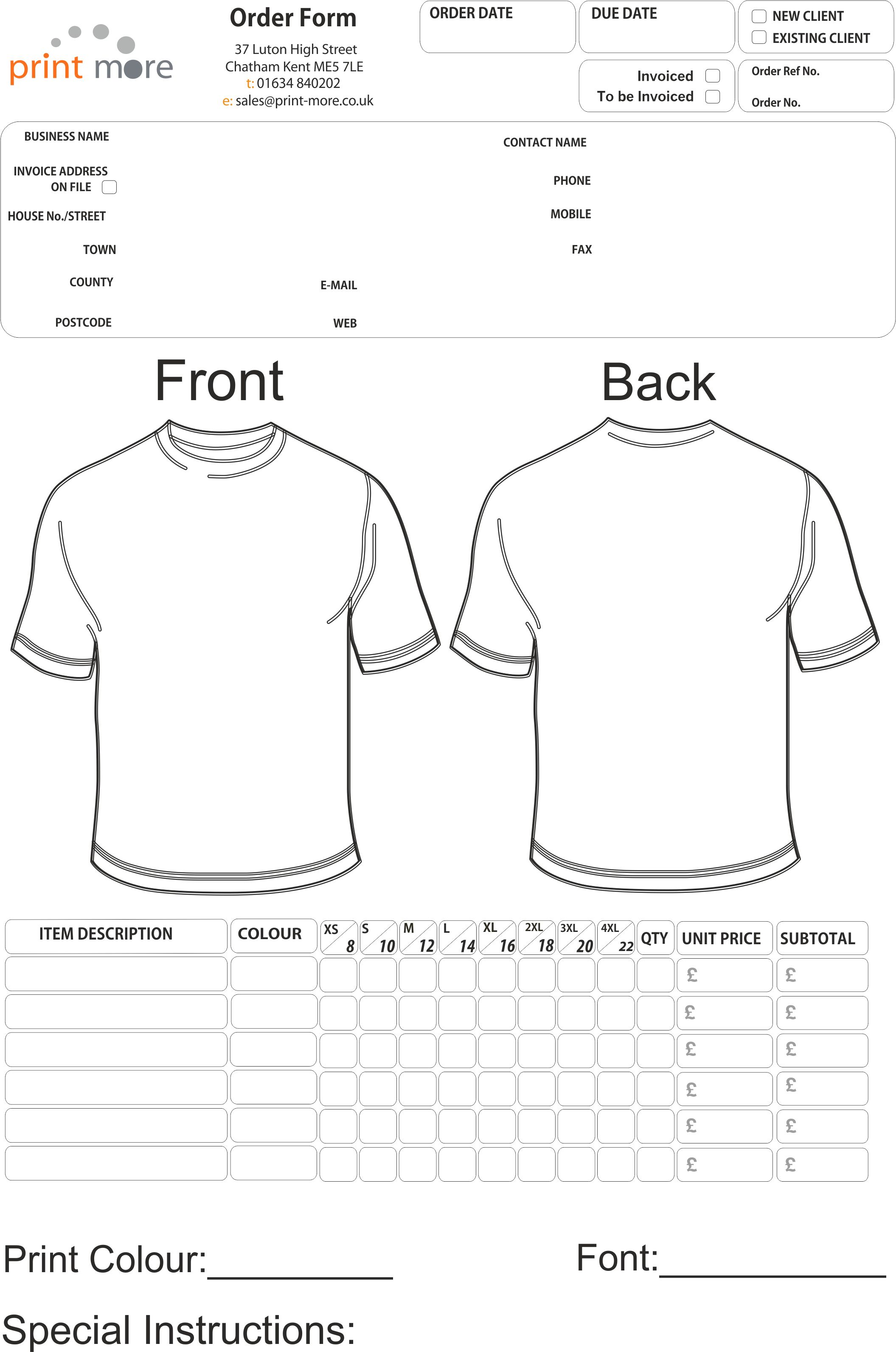 tee shirt order form Melo.in tandem.co