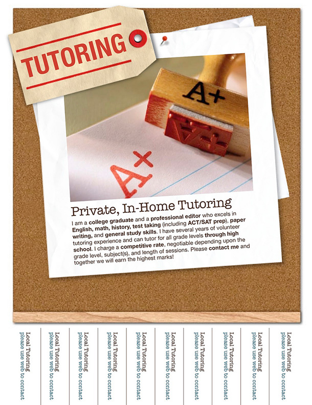 Tutor Advertisement Sample Tear F Flyer Templates Math Tutoring