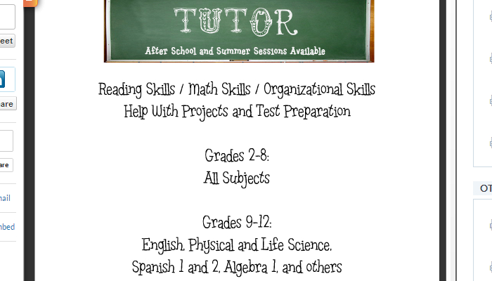 Tutoring Advertisement Sample Tutor Flyer Template Free