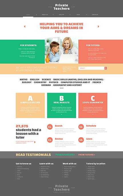 Website Templates Education Tutor Custom Website Template