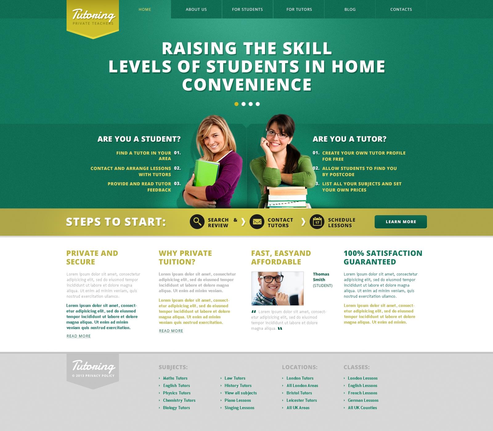 Website Templates Tutoring Education Center College Custom Website