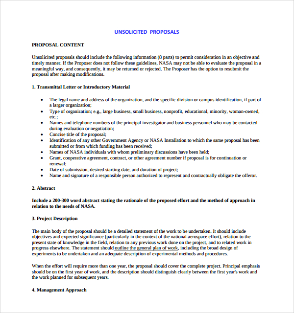 unsolicited proposal template sample unsolicited proposal template