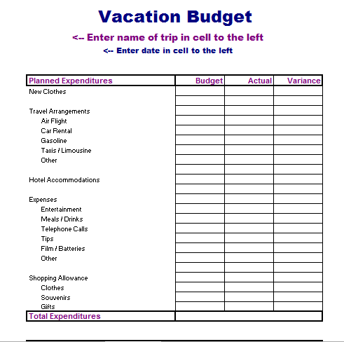 Vacation Budget Template | merrychristmaswishes.info