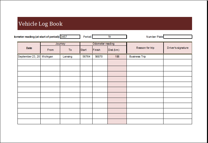 Vehicle Log Book Template for MS EXCEL | Excel Templates