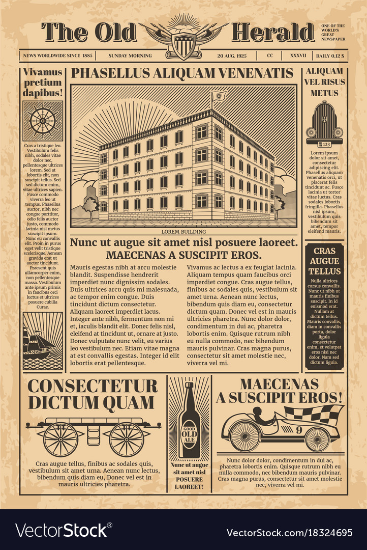 Vintage newspaper template with newsprint Vector Image