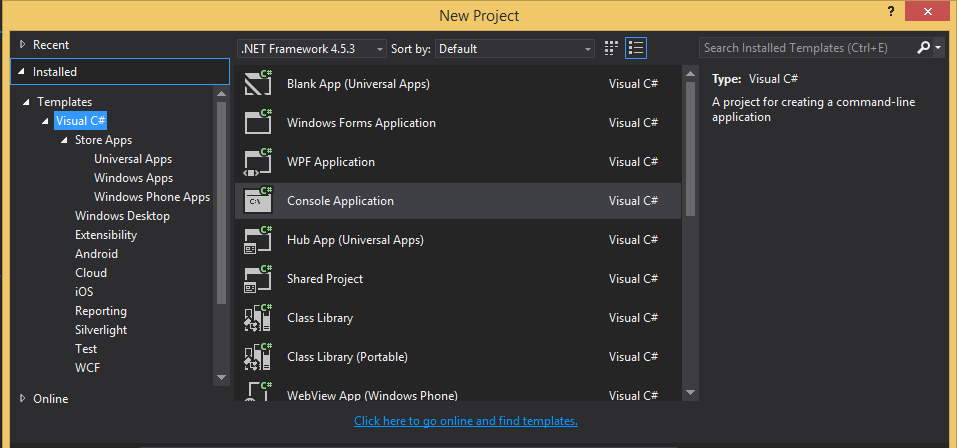 Why I can't see New project Web Template for Visual Studio 2015