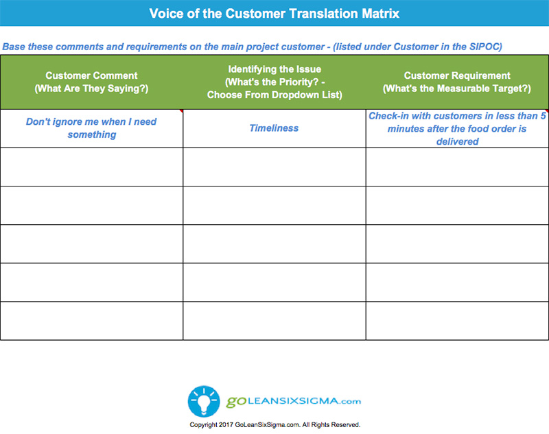 Voice of the Customer (VOC) Translation Matrix Template & Example