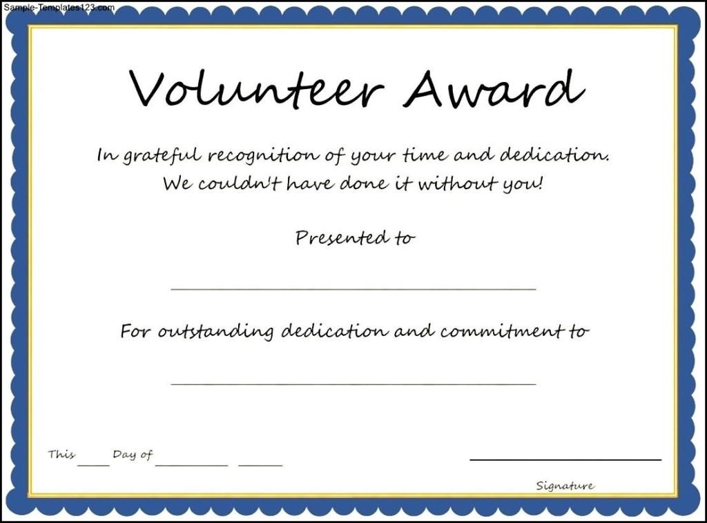 volunteer award certificate template Toma.daretodonate.co