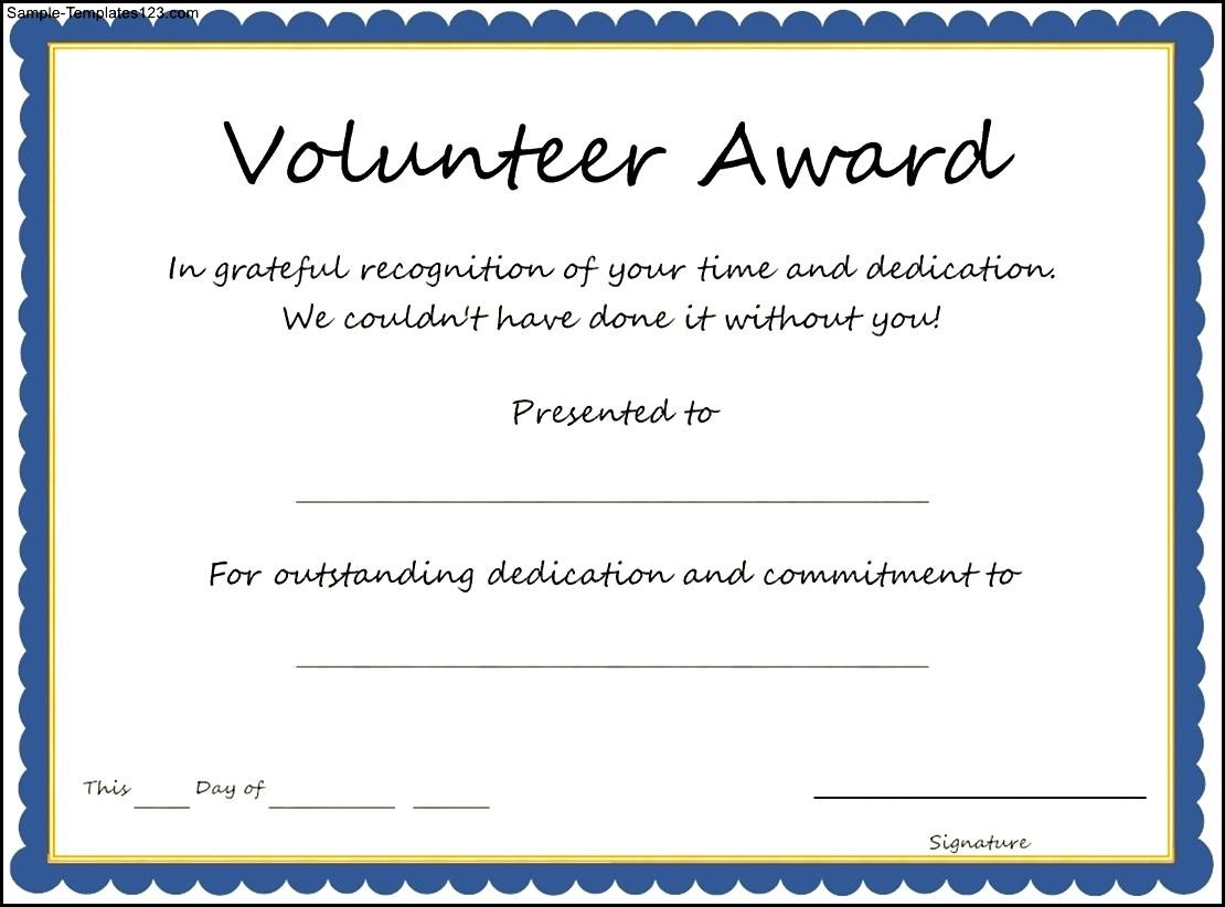 simple volunteer award template example with blue frame and gold