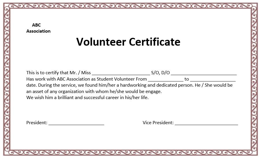 volunteer award certificate template volunteer certificate