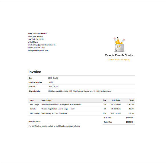 Website Invoice Template Designing Invoice Template 10 Free Sample