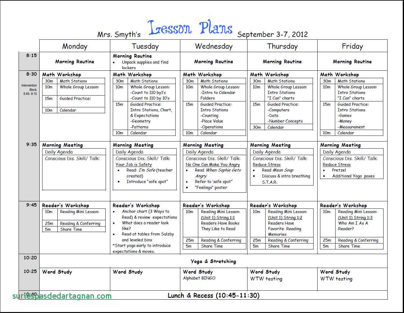 First Week Lesson Plans First Grade Best Of Of Weekly Lesson Plan