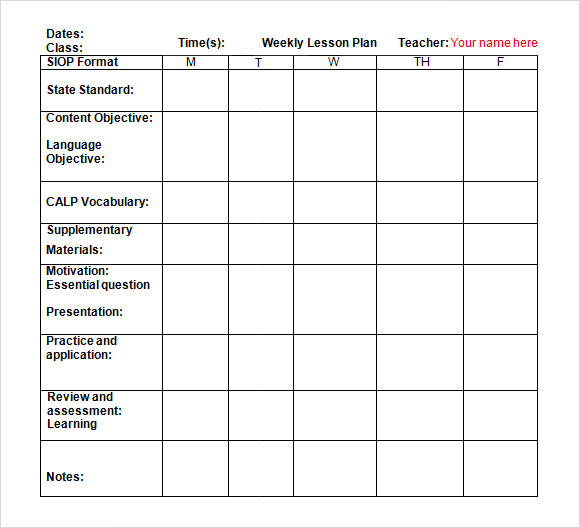 9+ Sample Weekly Lesson Plans | Sample Templates