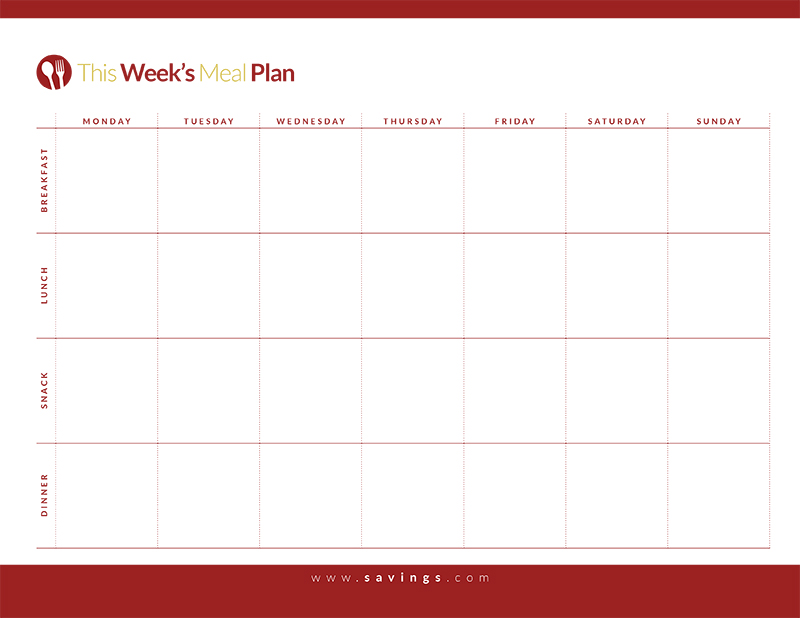 Weekly Menu Template with Snacks Unique Of Weekly Meal Planner